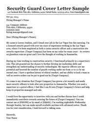 Security Guard Cover Letter Sample Download