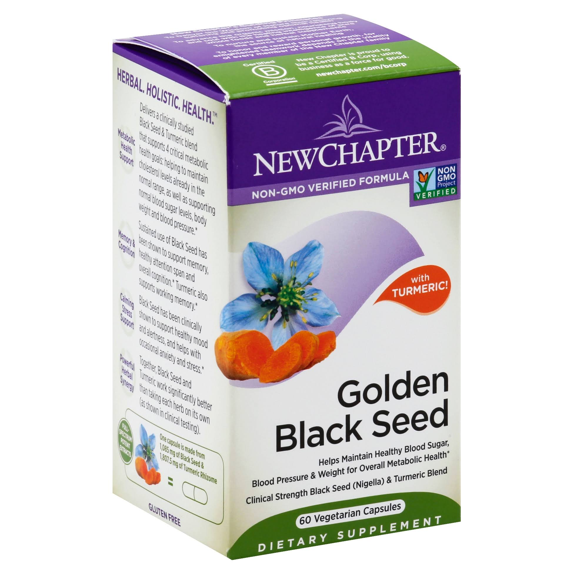 New Chapter Golden Black Seed, with Turmeric, Vegetarian Capsules - 60 capsules