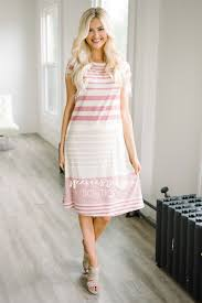 dusty pink cream stripe casual modest dress best and affordable