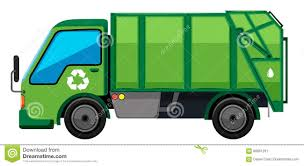 Garbage Truck In Green Color Stock Vector - Illustration Of Clipart ...