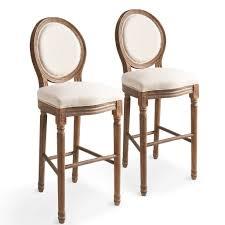 vidaxl krzesła barowe 2 szt białe len barhocker holz