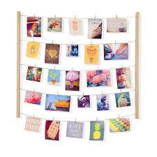 stickers fil a linge pêle mêle en bois effet fil à linge avec 40 pinces 76 2x66x3 8cm