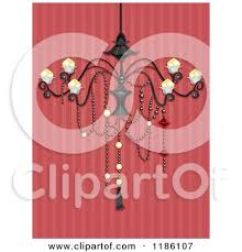Fancy Chandelier Over Red Striped Wallpaper