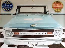 100 C10 Chevy Truck 1970 CHEVY TRUCK LIGHT BLUE GARAGE SCENE Neon Effect Sign Printed Banner 4 X 3