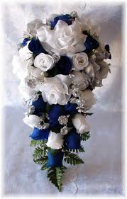 Blue And Silver Wedding Flowers Royal Horizon Bouquet Cascade 2pc White Silk Flower