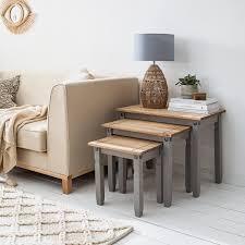 maison belfort beistelltisch set finca rustica er set massivholz kiefer grau landhaus