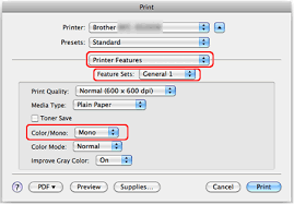 Choose Mono In Color And Click Print