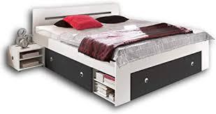 stella trading stefan doppelbett bettanlage 140 x 200 cm mit 2x nachtkommoden schlafzimmer komplett set in weiß graphit 145 x 86 x 204 cm