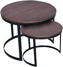 casamia couchtisch 2er set beistelltisch wohnzimmer tisch rund metall gestell altsilber o schwarz farbe braun bassano