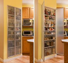 Gallery Of Adorable Galley Kitchen Design And Pantry Cabinet Surround At Yellow Wall Furniture Panel With Tempered Glass Door Eight Shelf Along W