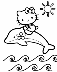 Hello Kitty On Dolphin Coloring Pages