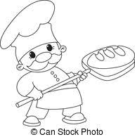 baker with bread outlined illustration of a baker with
