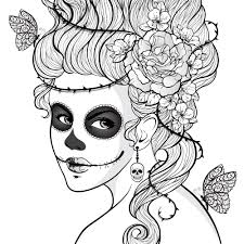 Day Of The Dead Girl Coloring For AdultsAdult PagesColoring