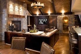 canape cuir rustique salle de séjour déco salon rustique lustre rond fer forgé bougies
