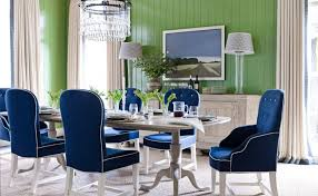 coastal dining room decorating ideas with green accent wall and