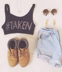 Top Crop Tops High Waisted Shorts Summer Girly Cute Clothes Denim Round Sunglasses Quote On