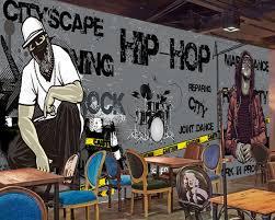 Free Shipping Music Restaurant Wallpaper Custom 3D Dance Studio Room Mural Black Trend Rock Hip