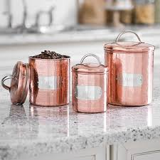 Silver Labeled Copper Canisters Set Of 3