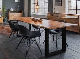 kawola essgruppe zaja kunstleder schwarz 5 teilig mit tisch baumkante und 4x stuhl zaja kunstleder schwarz