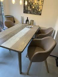 stühle 4 stück armlehnstühle stoff farbe grau taupe