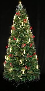 HOLIDAY STUFF 80th Century Noble Fir Pre Lit Fiber Optic Christmas Tree Decorated With Candle