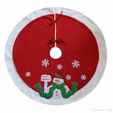 Christmas Tree Skirt 36 Inches In Diameter Embroidered Snowman Snowflake Modern Decorations Newest