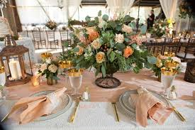 Gold Rim Glassware Blush Pink Napkin Lace Flatware Rustic Wedding Lantern Centerpiece Ideas