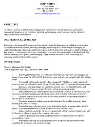 Distribution Manager Executive Resume Example