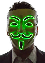 Halloween Club Purge Mask by Light Up V For Vendetta Guy Fawkes Mask Neon Nightlife