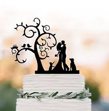 Bride And Groom Wedding Cake Toppers With Dog Cat Tree Topper Birds Silhouette Rustic