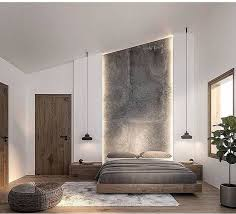 recessed headboard floor to ceiling with lighting