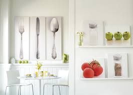Surprising Kitchen Dining Room Wall Art Decor Showing Cutlery Sets Picture And Round White Table Also Glass Flower Vase Centerpieces