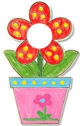 cadre photo fleur en pot à colorier cadre photo tête à modeler