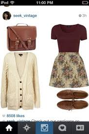 Skirt Sweater Shoes Cute Vintage Hipster Fall Outfits Winter Floral Burgundy White Oxfords Bag