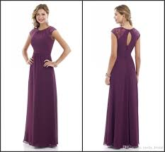 2017 purple bridesmaid dresses long sheer short sleeve jewel