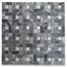 sle bardiglio gray target pinwheel mosaic tile w carrara