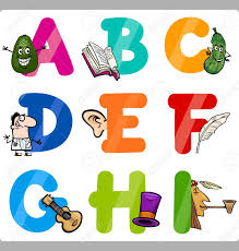 Cartoon Illustration Funny Capital Letters Alphabet With Objects