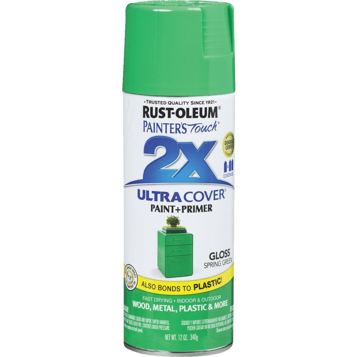 Rust-Oleum Painter's Touch 2X Ultra Cover Paint & Primer - Gloss Spring Green, 12oz