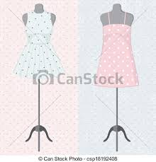 Different Vintage Dresses On A Mannequin Vector