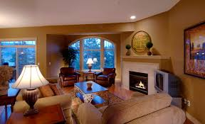 Living Room With Fireplace In Corner by Table Lamps For Modern Living Room