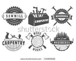 Woodwork Logos Vector Badges For Carpentry Sawmill Lumberjack Service Or Shop
