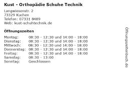 ᐅ öffnungszeiten kust orthopädie schuhe technik