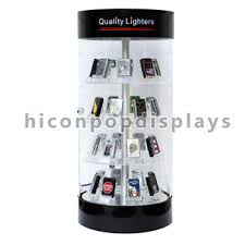 Creative 4 Shelves Counter Top Acrylic Spinner Lighter Upright Showroom Displays Cases For Sale