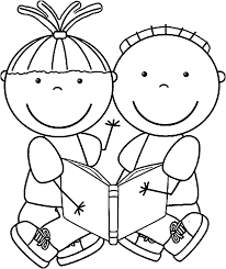 Free Educational Children Reading Books Kids Coloring Page