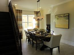 Transitional Dining Room Using Cozy Set And Pretty Chandelier For Home Decoration Ideas