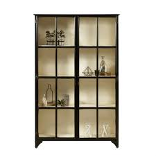 Pulaski Display Cabinet Vitrine by Iron With Black Finish Two Framed Glass Doors Three Stationary