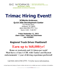 Trimac Hiring Event - 9/11 - SC Works Worklink Tld Logistics To Host Four Hiring Opportunities Across Region On Nov Truck Driving Apprenticeship Cstruction Trades Job Listing By 23 Best Employment Trends Images Pinterest Search Career Driver Traing Available Orientation Wednesday June 20 Professional Resume Cover Letter Sample Recruiter How Follow Up With Lift The Tristate Helping Seekers Gain Confidence Wvxu Archives Addicts In Your Face Advertising Niagara County And Worksource One Seeker Class A Jobs Elitehr Cdl School Roadmaster Drivers