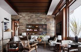 Marvellous Contemporary Rustic Living Room Brown Wooden Chair White Sofa Rounded Dining