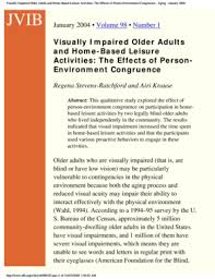 Fillable Online Visually Impaired Older Adults And Home Based
