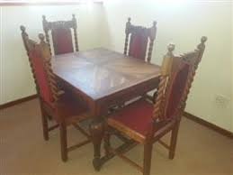 Antique Oak Dining Room Suite With 4 Chairs